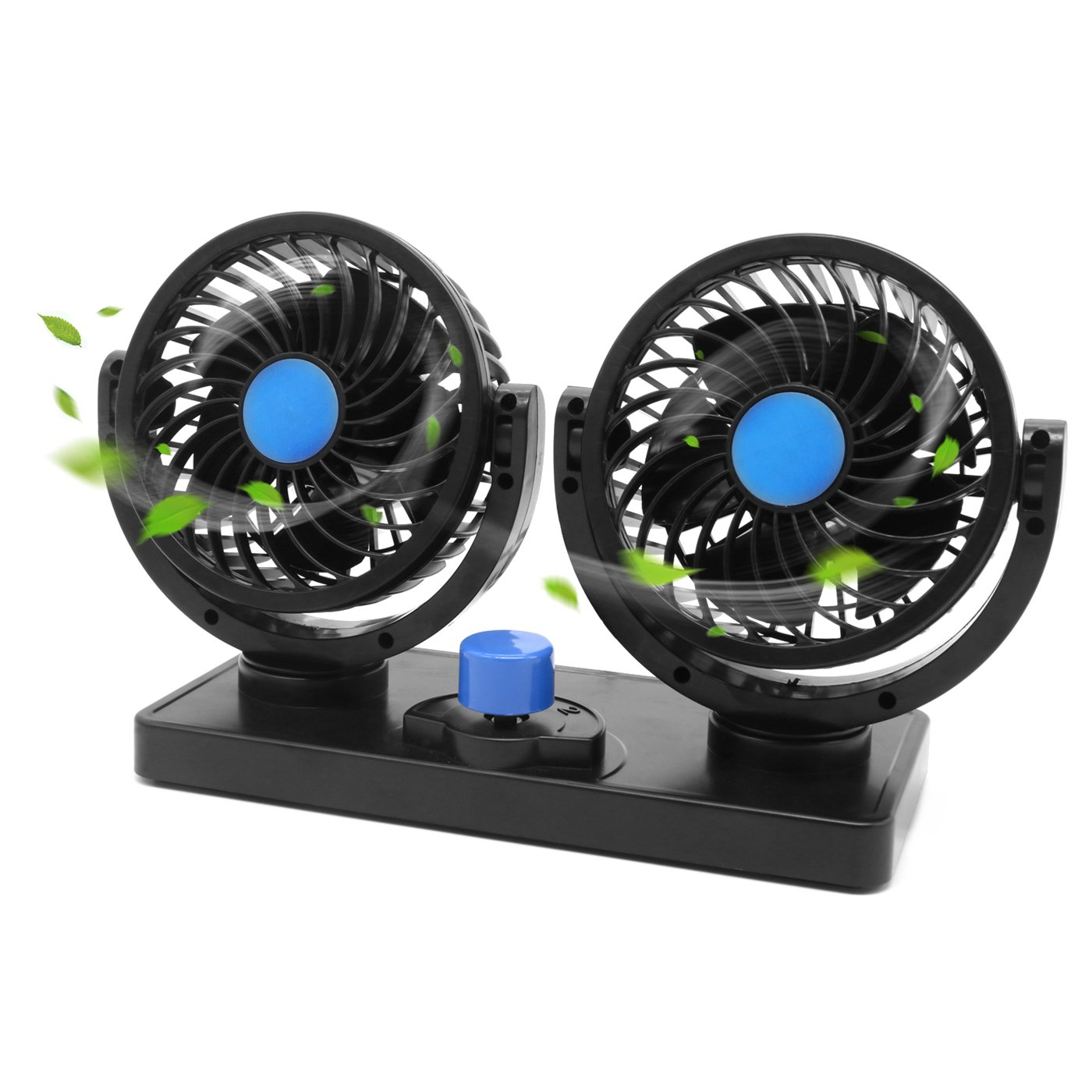 Ventilador de coche de 12 V giratorio 360 ajustable de doble cabeza ventilador de coche potente silencioso 2 velocidades giratorio ventilación salpicadero eléctrico coche ventiladores de verano refrigeración aire circulador China