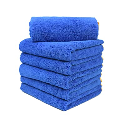 CARCAREZ Microfiber Car Drying Towels, 16x24 Inch Large Car Wash Detailing Buffing Polishing Towel with Microfiber Cloth, 380gsm, Pack of 6 (Pack of 6, Blue): Automotive