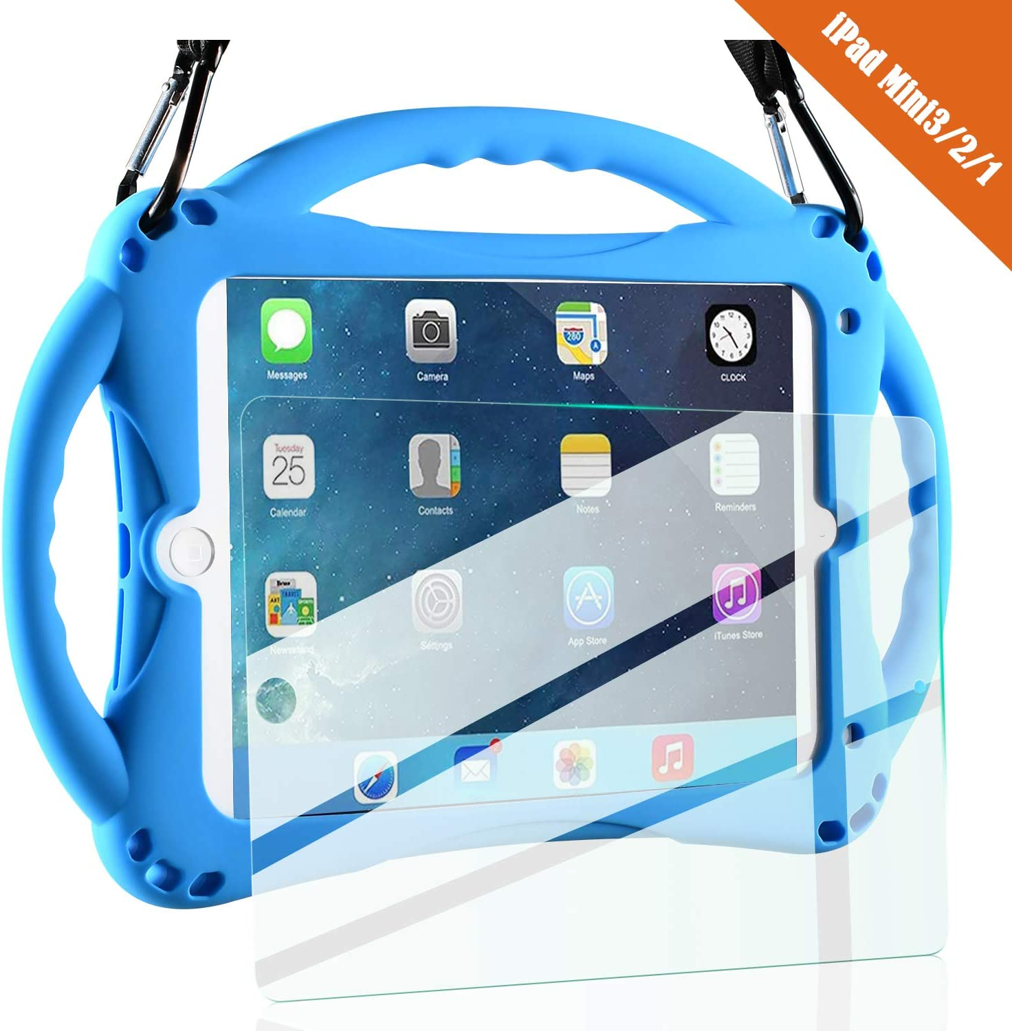 TopEsct iPad Mini Case Kids Shockproof Handle Stand Cover&(Tempered Glass Screen Protector) for iPad Mini, Mini 2, Mini 3 and iPad Mini Retina Models (Blue)
