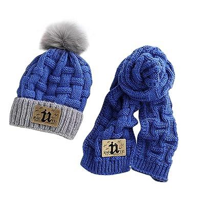 ACMEDE d hiver Chaud Chapeaux Tricoté Écharpe Set Mignonne Costume Enfants  Filles Bébés Garçons 40657ecdfc23
