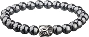 CMEI Original Chakra Infused Buddha Bracelet with Spiritual Hematite Healing Stones - Free Size Stretchable for Women, Men and Yogis