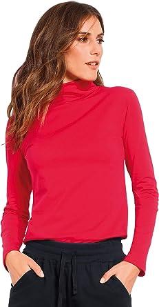 Camiseta Lisa Cuello Vuelto y Manga Larga Mujer - 001476, Rojo, L: Amazon.es: Ropa y accesorios