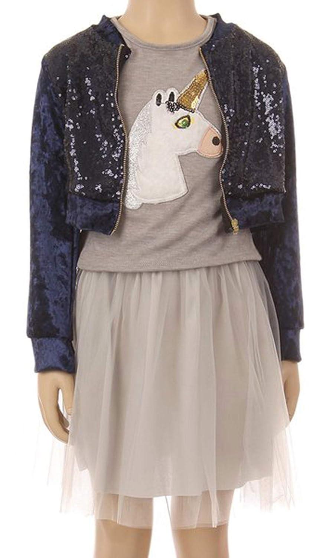 Beautiful 3 Pieces Set Jacet Skirt Top Easter Holiday Flower Girl Dress SZ 4-14
