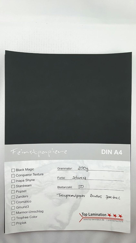 50fogli DIN A4Carta trasparente Zanders Spectral NERO 200G/M² exzellente Durchsicht, ottima qualità, possibile utilizzo: inviti, biglietti da visita, foglie di inserimento per Album, Album di foto, immagini finestra, Lavori di Bricolage e molto altro an