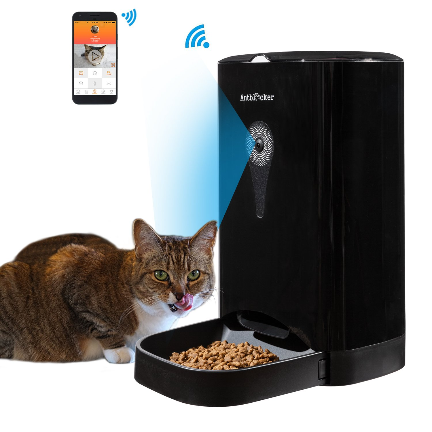 4.5L Automatic Cat Feeder Buildin HD Camera and Audio Communication, Smart Dog Food Dispenser with Remote Control APP, Black