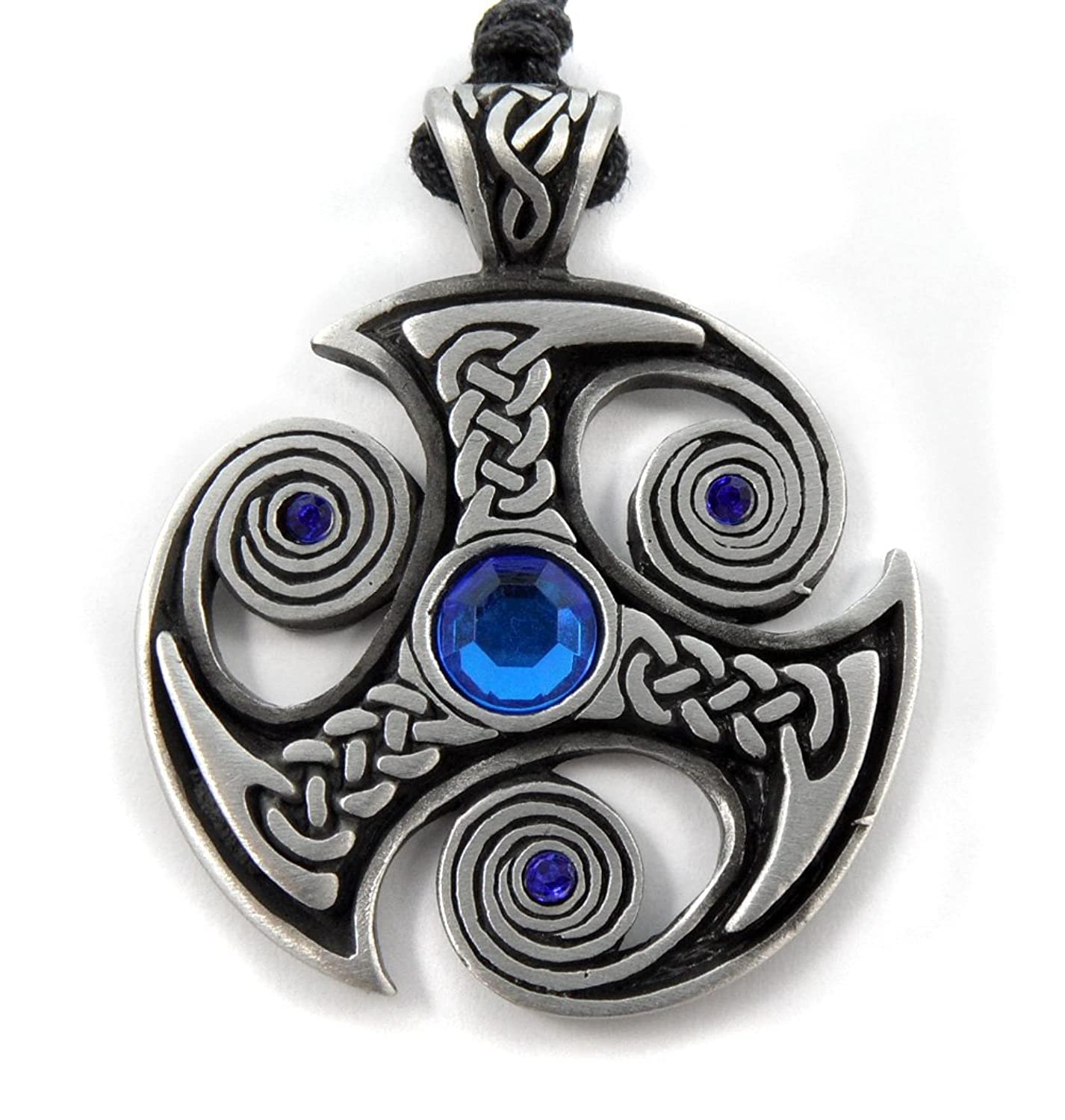 Mystical magical pewter celtic nordic viking runic druid runes mystical magical pewter blue trefot viking nordic spiral celtic norse pagan pendant aloadofball Image collections