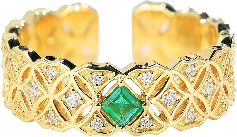 AnazoZ 18K Oro Anillos para Mujer Oro Anillo para Mujer Moneda Redonda Esmeralda Verde Blanca 0.1ct
