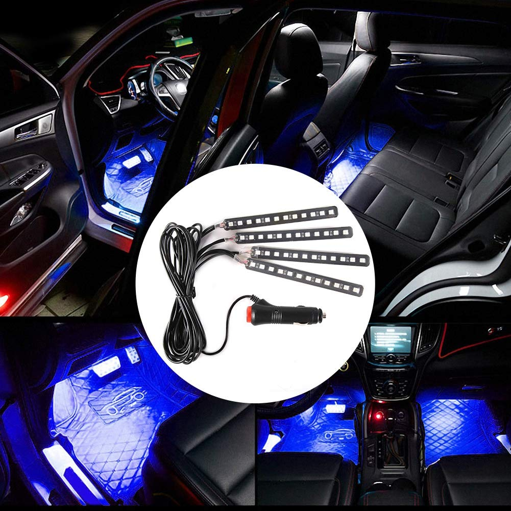 4x 12SMD EBTOOLS Luci interne da interni per auto Luci a LED RGB impermeabili con telecomando e DC 12V Blu ghiaccio