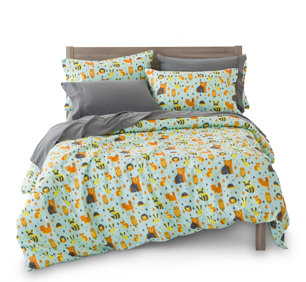 Full/Queen Woodland Creatures Duvet Cover Set with 2 Pillowcases for Kids Bedding - Double Brushed Ultra Microfiber Luxury Set By Where The Polka Dots Roam (L 90in x W 92in) …