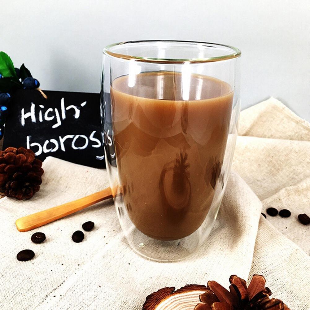 caf/é con Leche Juego de 2 200 ml caf/é Espresso Capuchino caf/é Cerveza Sponsi Tazas de Vidrio de Doble Pared Vidrio Transparente de borosilicato Taza de caf/é Resistente al Calor para t/é