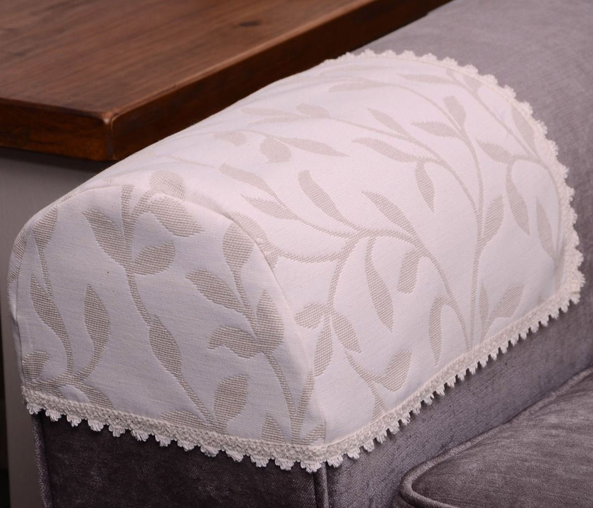 Jess Pair Of Arm Caps Leaves Floral Leaf Cream Beige Natural Embroidered  Sofa Chair Cover Traditional