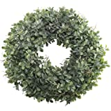 """Nahuaa Boxwood Wreath for Front Door Decor, 17"""" Artificial Greenery Wreath Farmhouse Garland Home Office Housewarming Gift Greenery Decorations"""