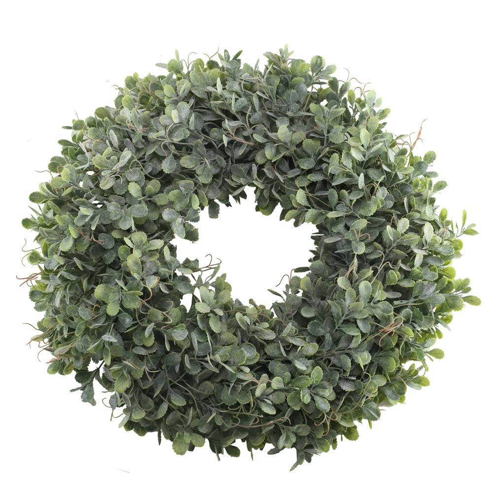 NAHUAA Boxwood Wreath for Front Door Decor, 17 inches Artificial Greenery Wreath Farmhouse Garland Home Office Housewarming Gift Greenery Decorations by NAHUAA