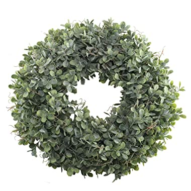 Nahuaa Boxwood Wreath for Front Door Decor, 17  Artificial Greenery Wreath Farmhouse Garland Home Office Housewarming Gift Greenery Decorations