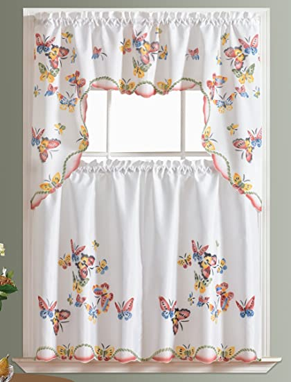 Ordinaire 3pcs Kitchen Curtain / Cafe Curtain Set, Air Brushed By Hand Of Flying  Butterfly