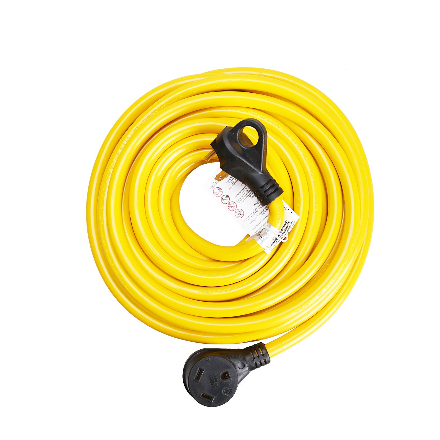 50ft 30Amp RV Extension Cord, Easy Unplug Design with Cord Organizer, 10 Gauge 30A,3 Wire)