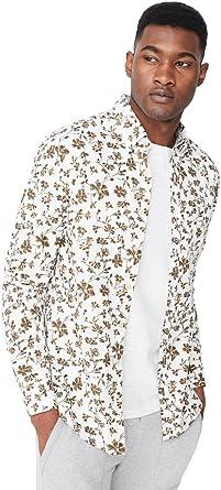 MANGO MAN - Camisa Casual - para Hombre Blanco S: Amazon.es: Ropa