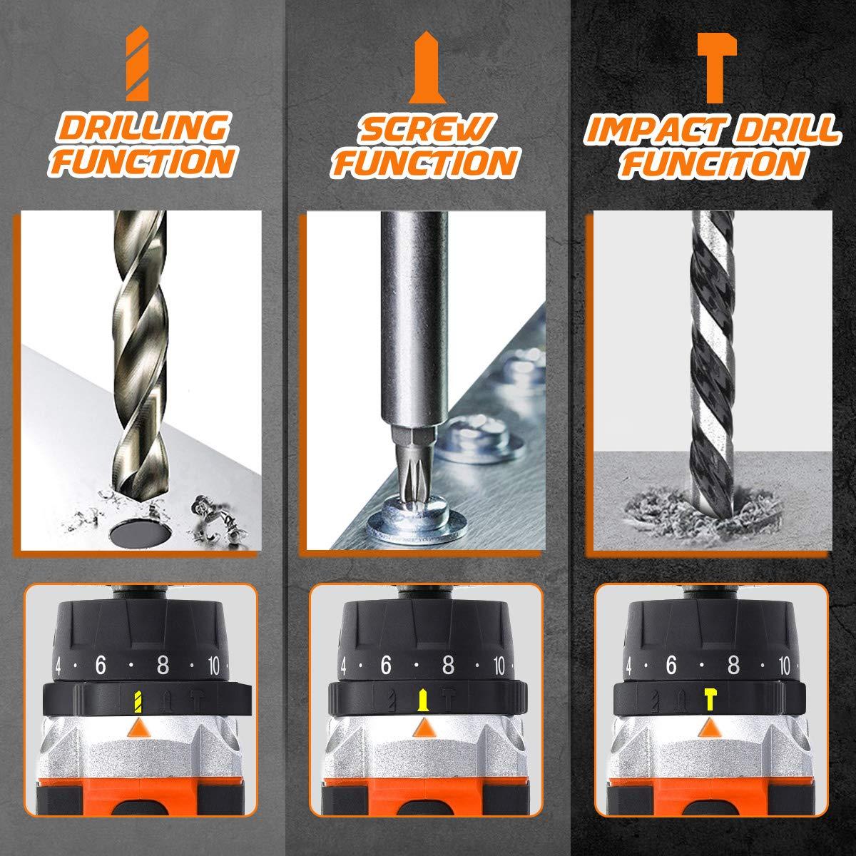 Bielle 6 Forets Ordinaires Arbre Flexible Sac Transport Perceuse /Électrique san Fil NASUM Kit dOutils 23pcs 4 M/èches de Ciment 6 Embouts Chargeur de Si/ège Rapide Incluant 2 Piles au Lithium
