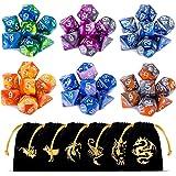 CiaraQ Poliédrico Dados, 6 x 7 (42 Piezas) Colores Dobles Dados de Juego para Dungeons and Dragons DND RPG MTG D20 D12 D10 D8 D6 D4 de Mesa Juegos de Cartas con Paquete de 6 Negro Bolsas
