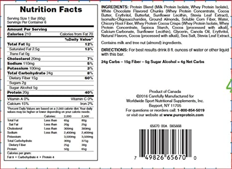 Amazon Pure Protein Plus Bars Gluten Free Cookies And Cream 211 Oz 6 Count Health Personal Care