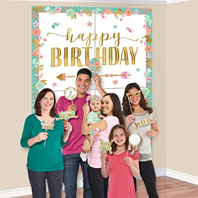 amscan 670796 Scene Setters with Photo Props-16 Pcs, Ss W/Props Boho Birthday Girl: Home & Kitchen