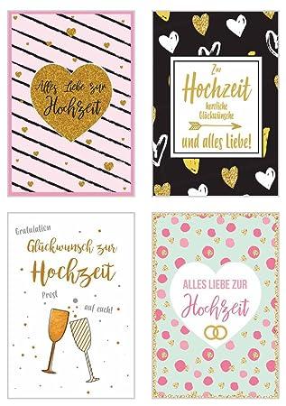 Set 4 Exklusive Hochzeitskarten Mit Feiner Goldpragung