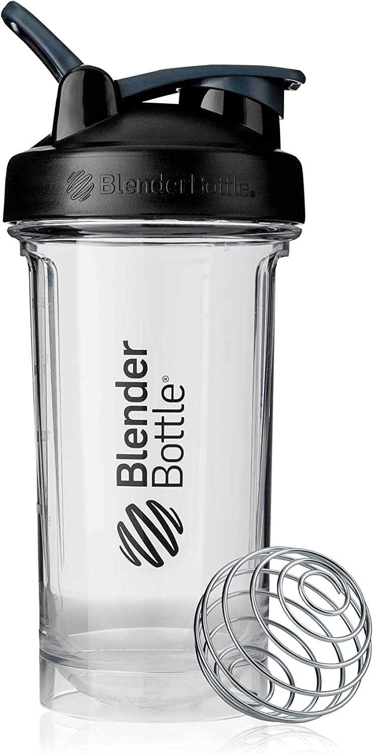 BlenderBottle Pro Series Shaker Bottle, 24-Ounce, Black/Clear