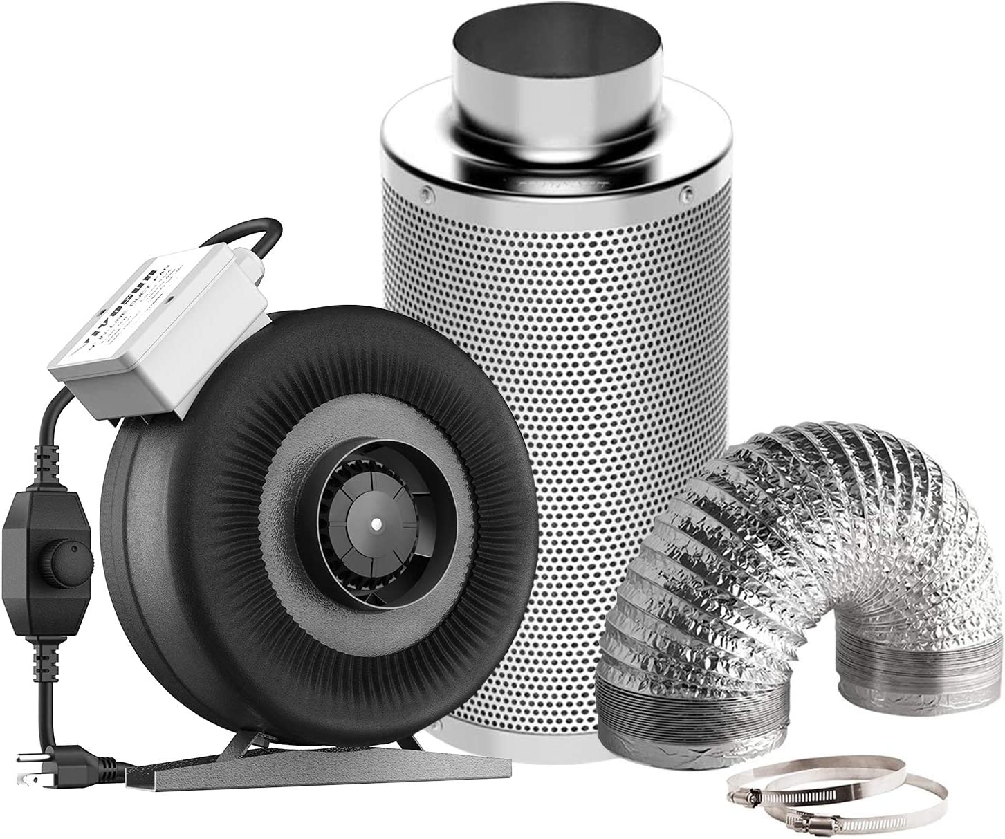 "VIVOSUN Air Filtration Kit: 4 Inch 203 CFM Inline Fan with Speed Controller, 4"" Carbon Filter and 8 Feet of Ducting Combo"