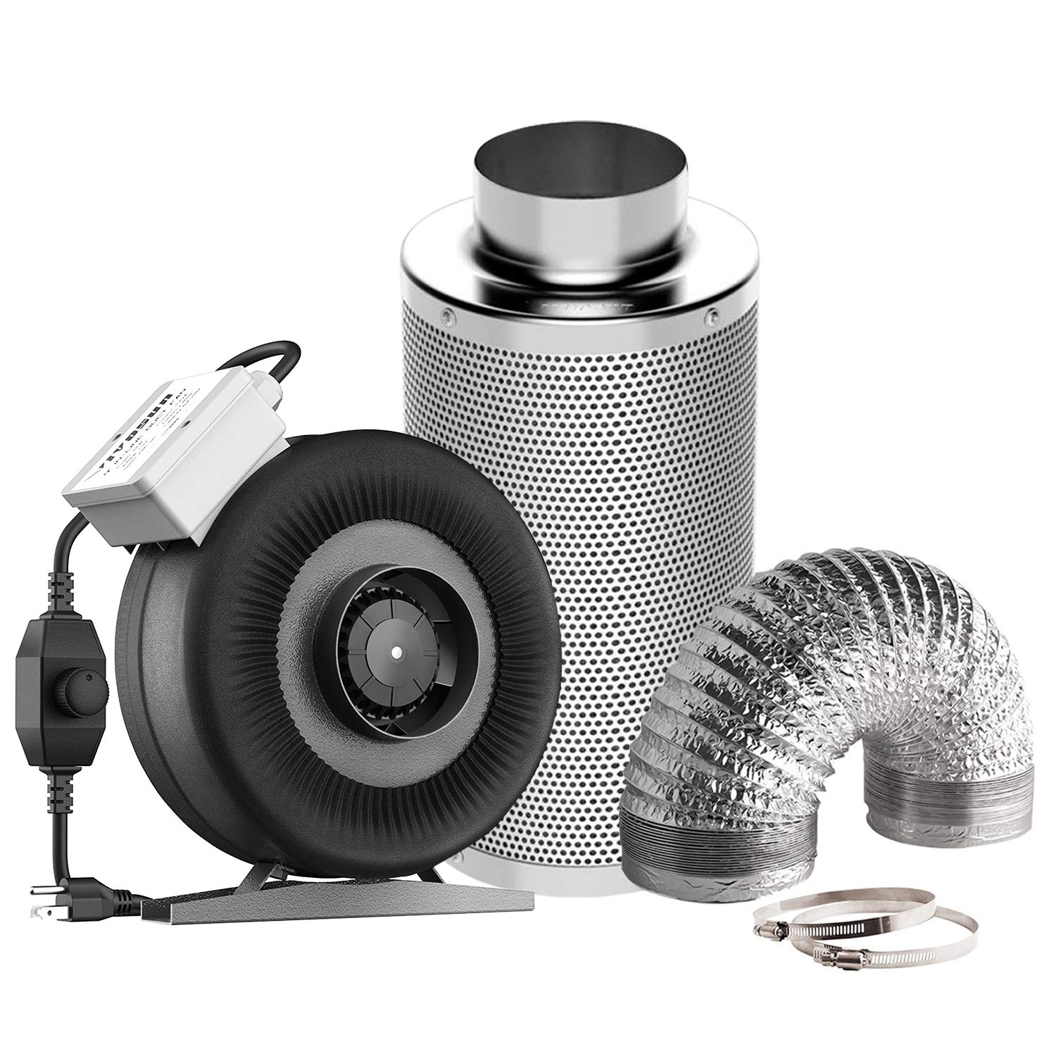 VIVOSUN Air Filtration Kit: 4 Inch 203 CFM Inline Fan with Speed Controller, 4'' Carbon Filter and 8 Feet of Ducting Combo by VIVOSUN
