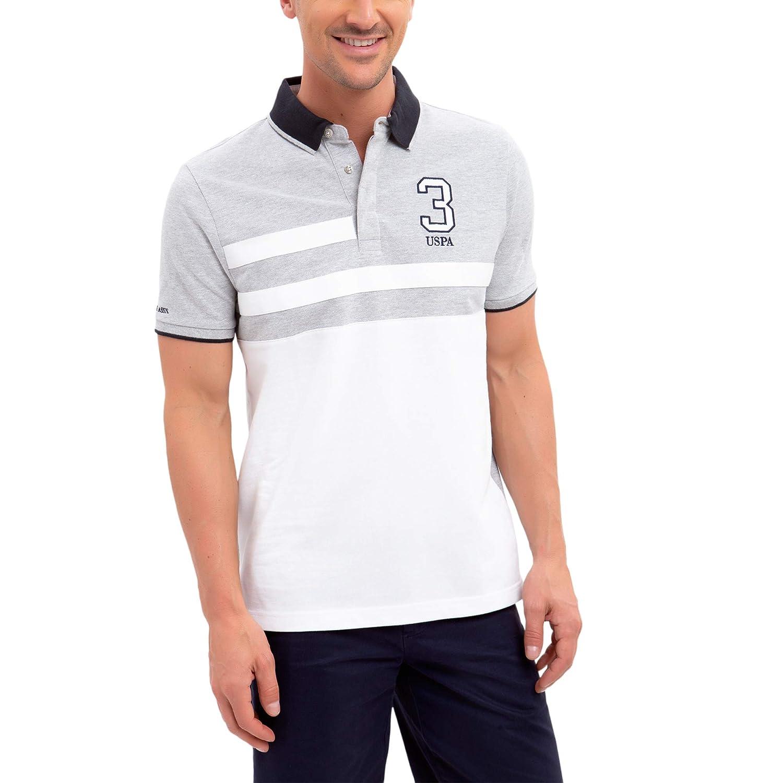 U.S. Polo Assn. Mens Color Block Stripe Pique Polo Shirt with 3 ...