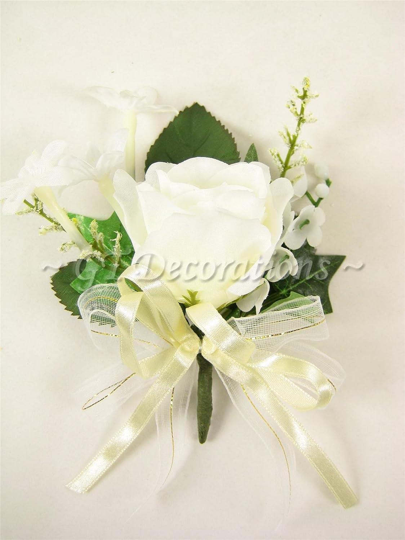 Pack Of 4 Silk Wedding Flower Rose Stephanotis Lily Of Valley