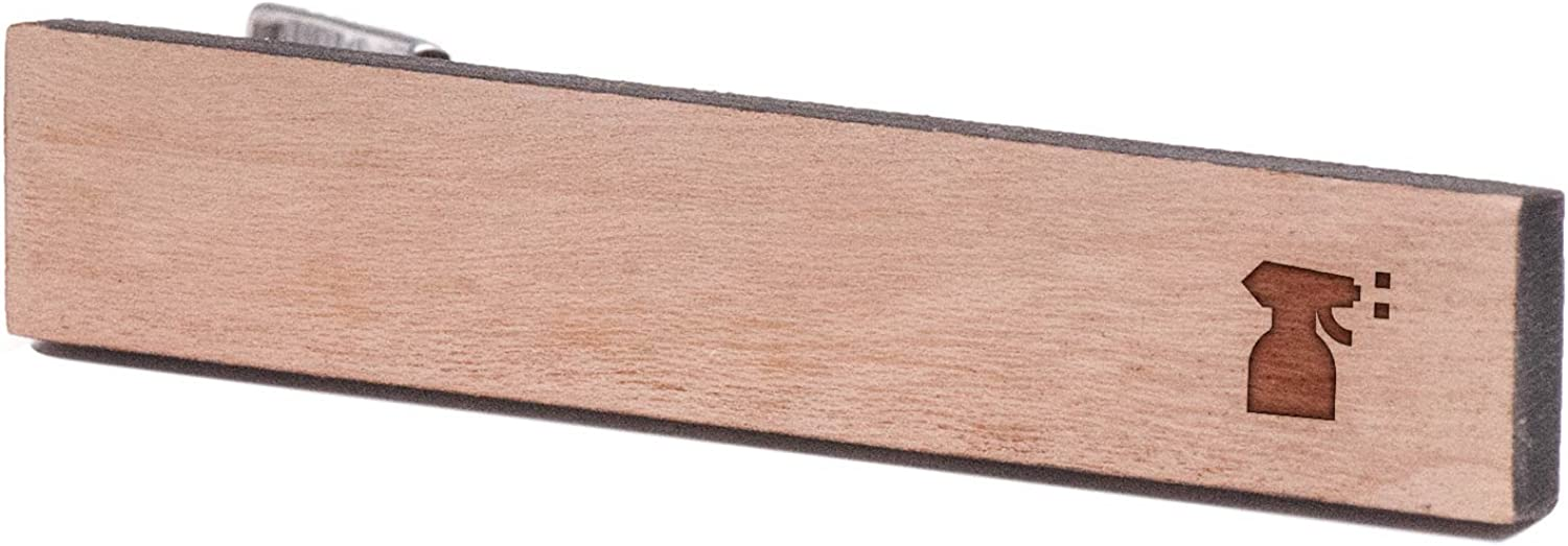 Cherry Wood Tie Bar Engraved in The USA Wooden Accessories Company Wooden Tie Clips with Laser Engraved Sprayer Design
