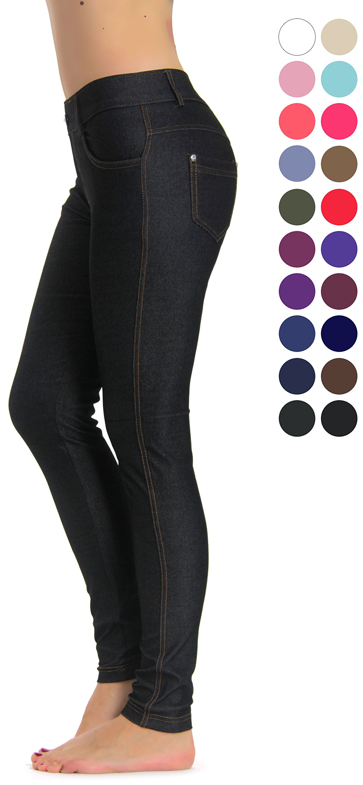 Prolific Health Women's Jean Look Jeggings Tights Yoga Many Colors Spandex Leggings Pants S-XXL (Large, Black Type2)