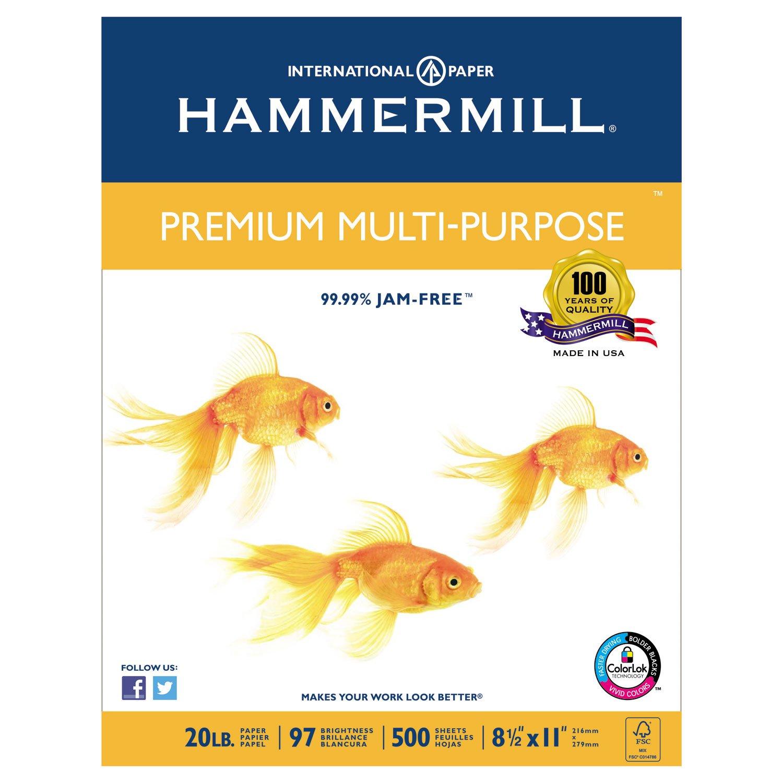 Hammermill 105910 Premium Multipurpose Paper, 20-lb, 8-1/2 x 11, White, 2500/Carton