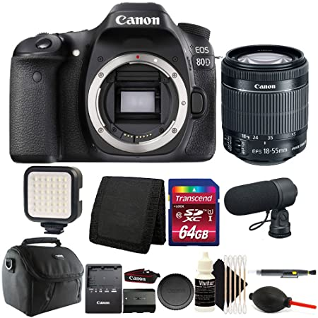 Canon EOS 80D 24.2MP D SLR Camera with 18 55mm Lens + 64  GB Top Accessory Bundle Digital Cameras
