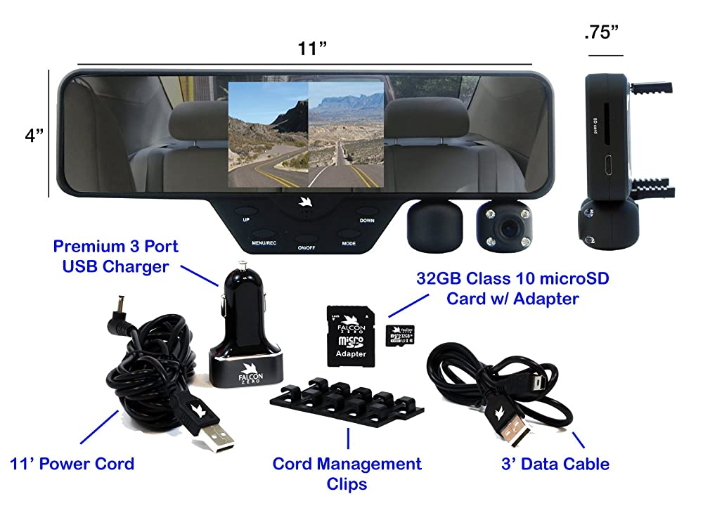 Falcon Zero F360 HD DVR Dual Dash Cam, Rear View Mirror, 1080p, 32GB SD Card (Black)