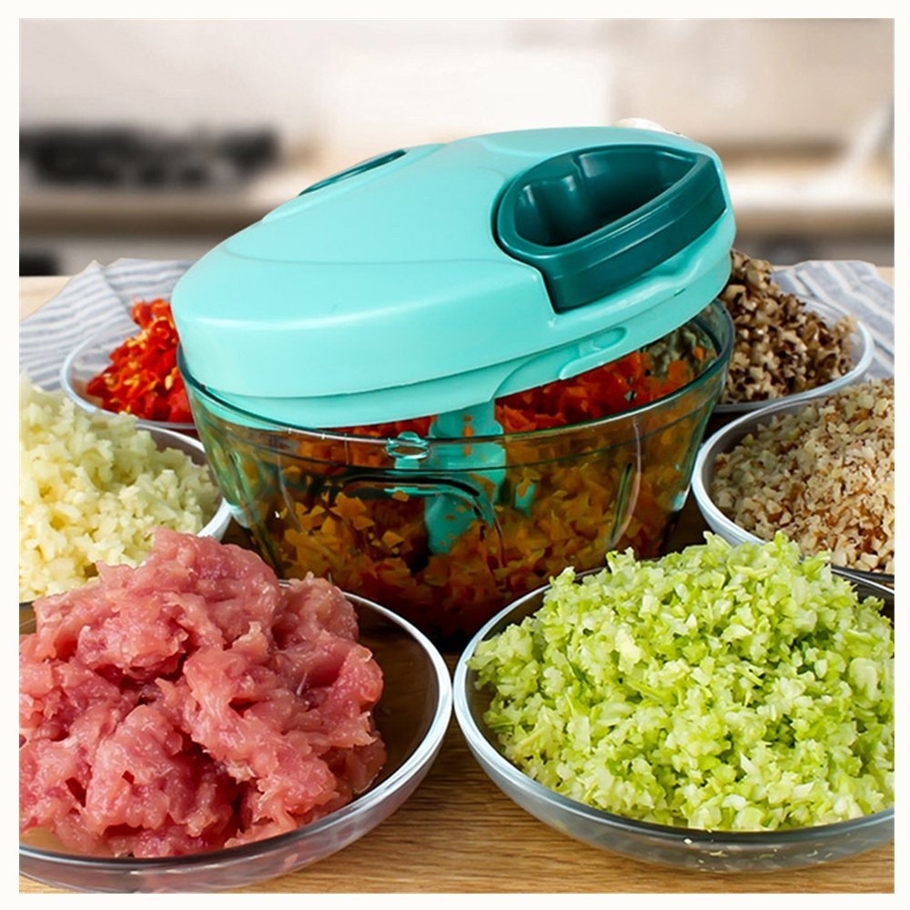 MAXGODOS Manual Food Chopper, Compact and Powerful Hand Held Vegetable Chopper/Mincer/Blender to Chop Fruits/Vegetables/Nuts/Herbs/Onions/Garlics for Salsa/Salad/Pesto/Coleslaw/Puree, Small Size MAXGOODS