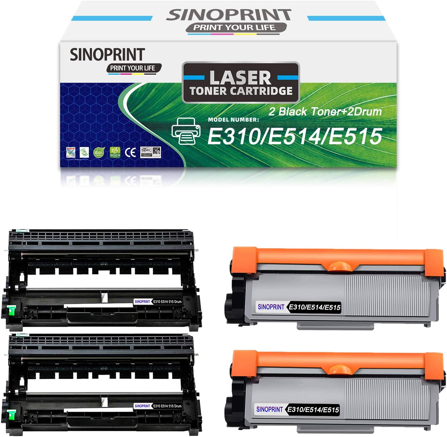 SINOPRINT Compatible Drum Unit & Toner Cartridge Replacement for Dell E310dw E514dw E515dw E5151dn, 2 Drum Unit 2 Black Toner Cartridge