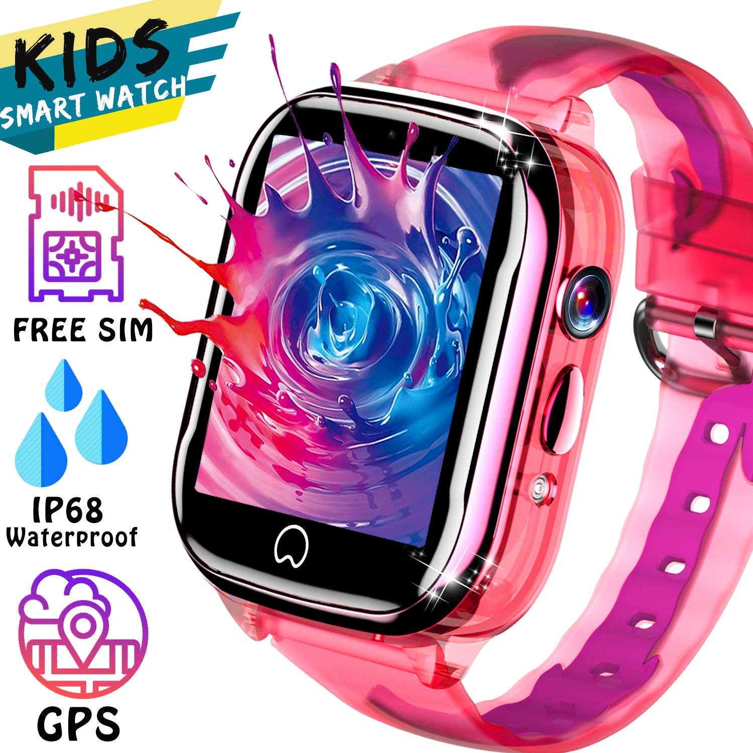 Kids Smart Watch GPS Tracker - [SIM Card Included] Waterproof Phone Smartwatch for 3-12 Years Old Boy Girl with Two-Way Call SOS Games Camera Kid ...