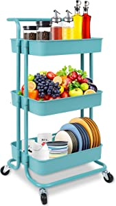 Rolling Storage Cart, 3-Tier Utility Storage Cart with Lockable Wheels, Multifunction Storage Rolling Cart with Mesh Basket and Handles, Easy Assembly