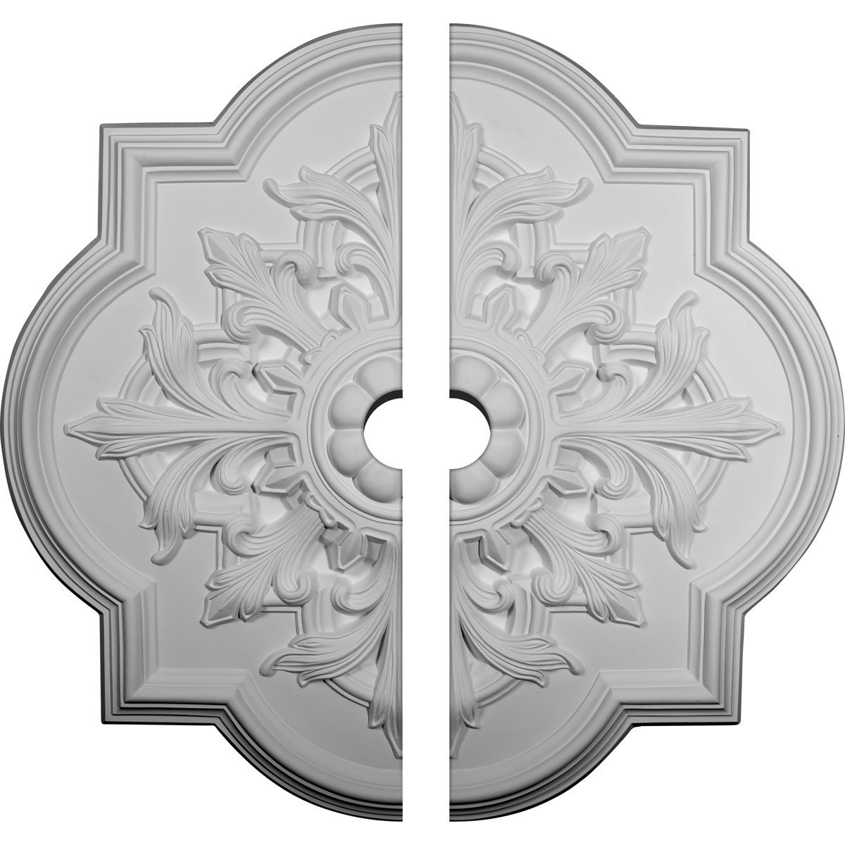 Ekena Millwork CM34BO2-03000 31 1/4''OD x 3''ID x 2''P Bonetti Ceiling Medallion, Two Piece (Fits Canopies up to 7 3/8''), Factory Primed White