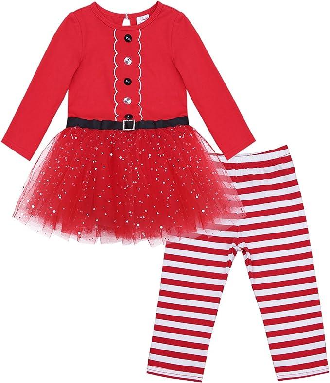 inlzdz Bebé Niñas Vestido de Navidad 2Pcs Vestido de Tutú ...