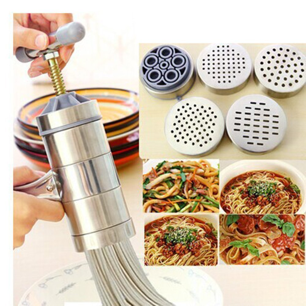 Oak-Pine Stainless Steel Pasta Noodle Maker Vegetable Fruit Juicer Press Rigatoni Gramflour Noodles Rice Noodles Machine Inspired Kitchen Tool (1 x Maker + 5 x Mold) Generic