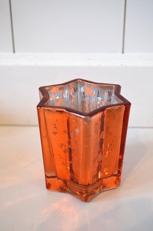 Amazon.de: Weihnachtsdeko Teelicht aus Glas Stern orange Windlicht ...
