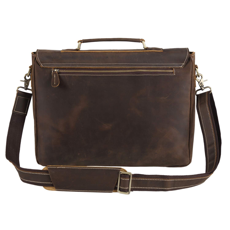 Amazon.com  Polare Vintage Genuine Leather Tote Briefcase Professional 16   Laptop  Shoulder Messenger Bag (Dark Brown)  Computers   Accessories f2d5cdb892ae9