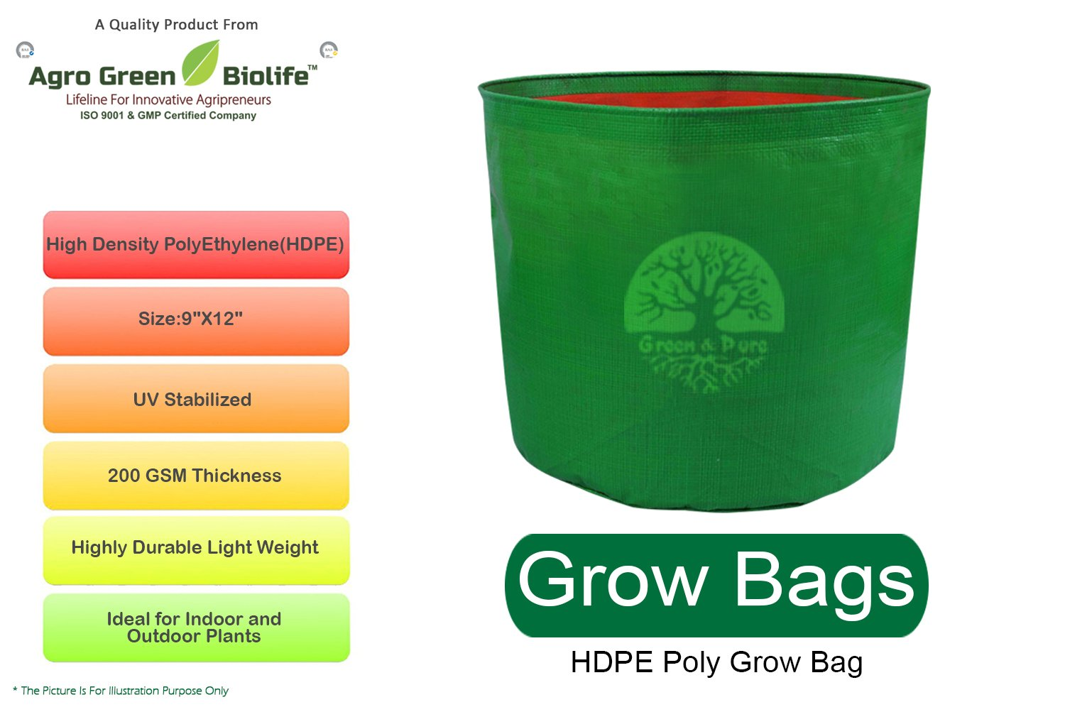 Agro Green Biolife Green & Pure HDPE Poly Grow Bags - 9 Inches X 12 Inches  (Pack Of 1)