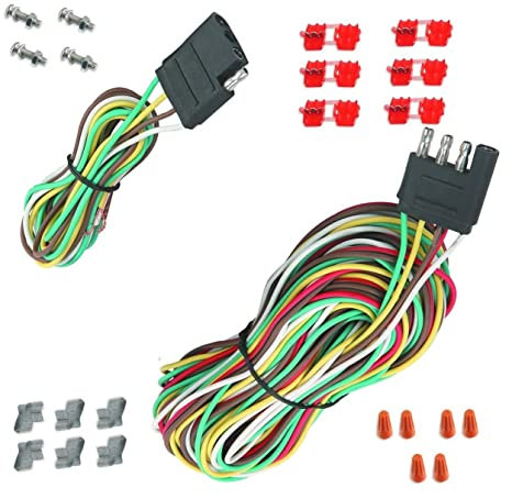 Amazon.com: 25` 4 Way Trailer Wiring Connection Kit Flat Wire ... on 4 way flat mounting bracket, 4 wire harness, 4 way flat connectors, 4 way flat cover,