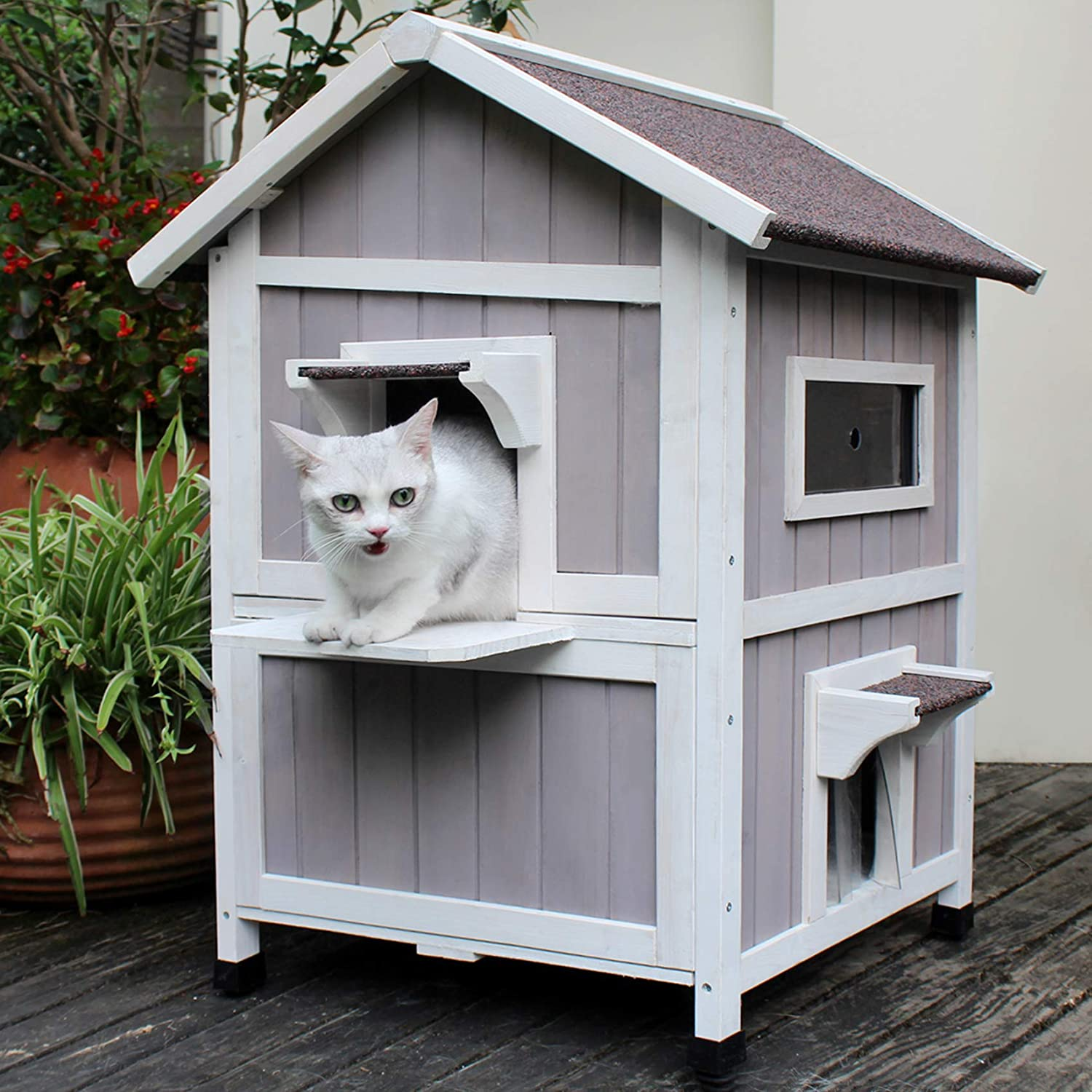 Hicaptain Outdoor Cat House Feral Cat Shelter Escape Door Waterproof Insulated Two Story Pet Supplies