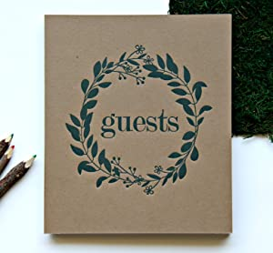 """Wedding Guest Book Rustic Photo Guest Book Wedding   Wedding Album Guests   Wedding Guest Registry   Guest Book Sign   Wedding Photo Booth Album   Embossed 8.5""""x7.5"""", 130 Kraft Pgs   Rustic Sign (BR)"""