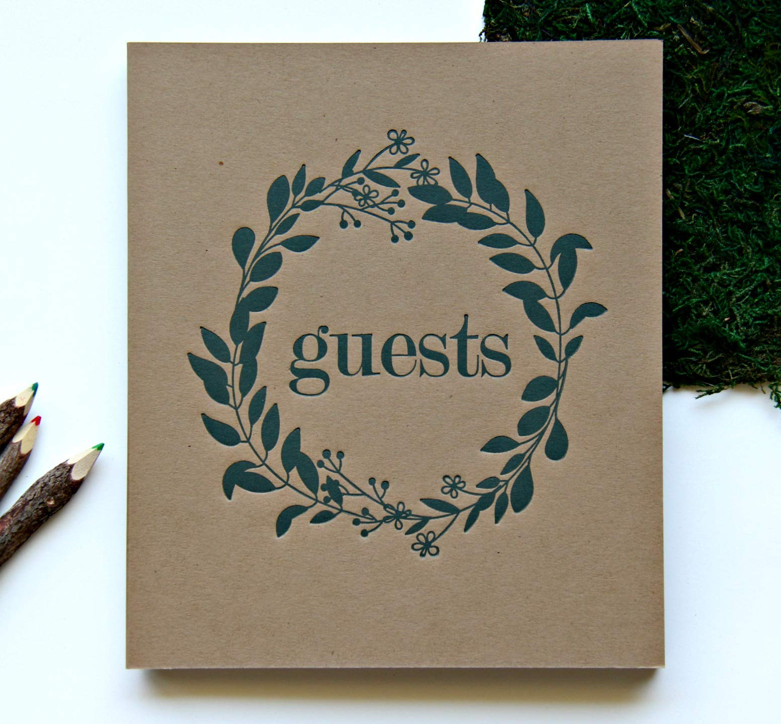 Wedding Guest Book Rustic Photo Guest Book Wedding | Wedding Album Guests | Wedding Guest Registry | Guest Book Sign | Wedding Photo Booth Album | Embossed 8.5''x7.5'', 130 Kraft Pgs | Rustic Sign (BR) by Modern Notebooks